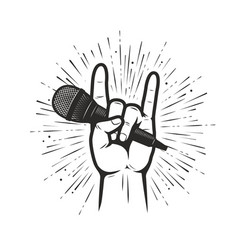 music symbol or emblem microphone in hand vector image