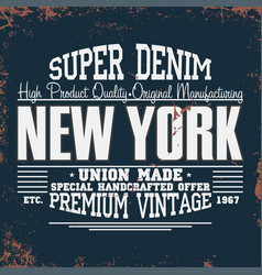 new york t-shirt graphics vintage denim typography vector image