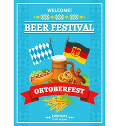 Octoberfest Festival Welcome Flat Poster vector image
