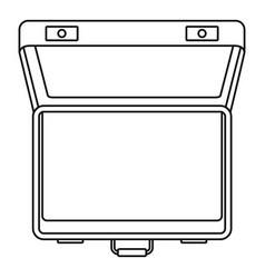 open suitcase icon outline style vector image