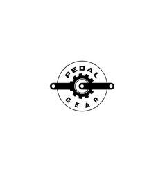 pedal gear bicycle logo vector image