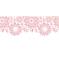 Pink abstract flowers horizontal seamless pattern vector image