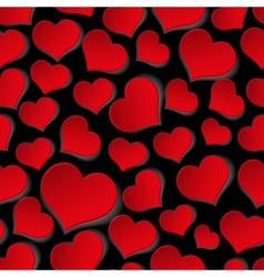 Red valentine hearths symbol seamless dark pattern vector