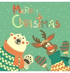 Reindeer and polar bear celebrating christmas vector
