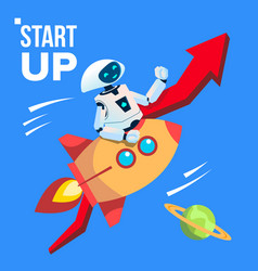 robot going by space rocket start up vector image