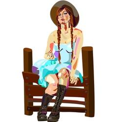 Rural girl vector