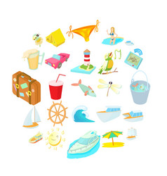Sea trip icons set cartoon style vector