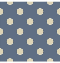 Seamless beige polka dots on blue background vector image