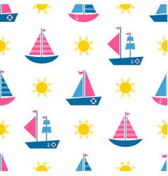 seamless pattern with cartoon boats and sun vector image