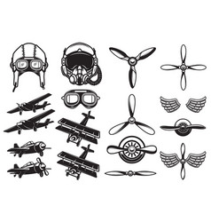 set airplanes propellers aviation design vector image