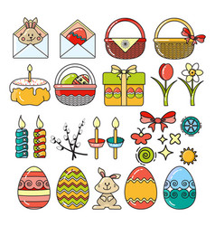 Set easter icons vector
