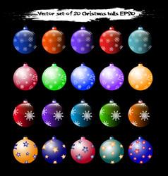 set of 20 christmas balls vector image