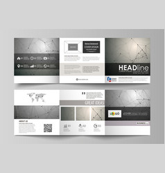 set of business templates for tri fold square vector image