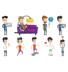 Set of people using modern technologies vector