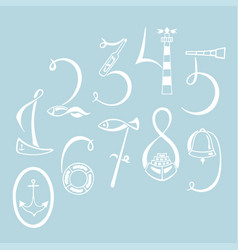 set of the marine numerals hand drawn vector image