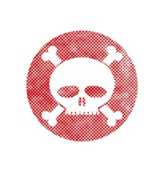 Skull icon with pixel print halftone dots texture vector