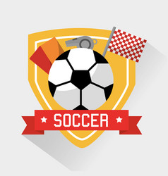 soccer sport ball cards whistle and flag vector image