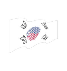 South korea flag on white background wave vector