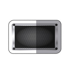 sticker rectangle metallic frame with grill vector image