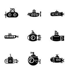submarine boat icons set simple style vector image