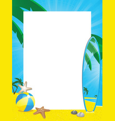 summer border and surfboard vector image