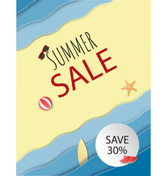 summer sale background with beach and sand and vector image
