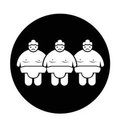 Sumo wrestling people icon vector