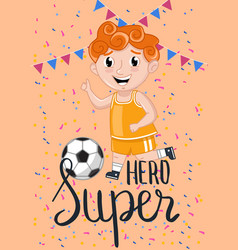 Super hero kids postcard template vector