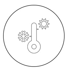 thermometer icon black color in circle vector image