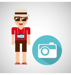 tourist man with camera photographic vector image