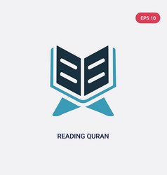 Two color reading quran icon from religion vector