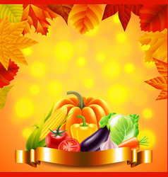 vegetables on autumn background with golden ribbon vector image