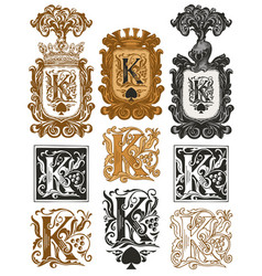Vintage initial letter k with baroque decorations vector