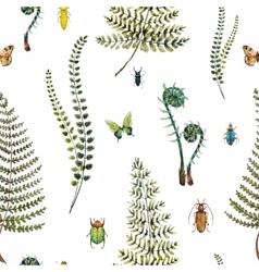 Watercolor fern pattern vector