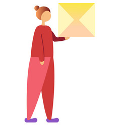 Woman with mail envelope icon on white vector