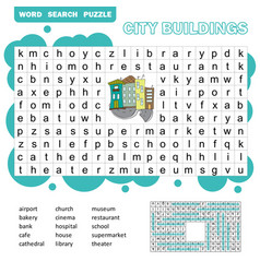 Word search puzzle game about city vector