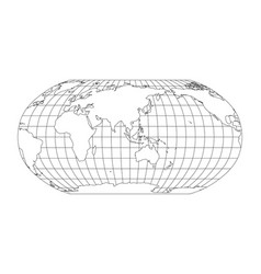 World map in robinson projection with meridians vector
