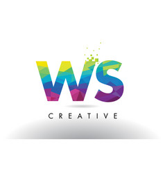 ws w s colorful letter origami triangles design vector image