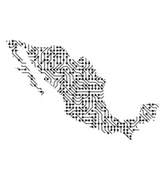 Abstract schematic map of mexico from the black vector