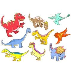 Cute dinosaurs set vector image