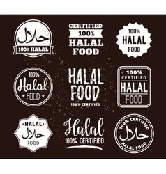 Halal food labels set badges design vector