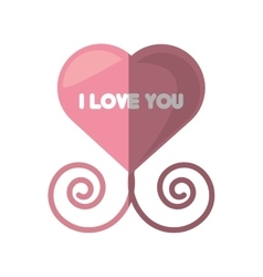 i love you pink heart decorative shadow vector image