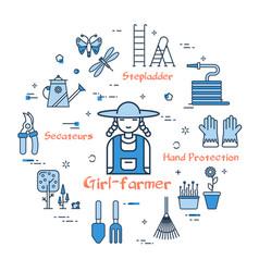 blue gardening - girl-farmer vector image