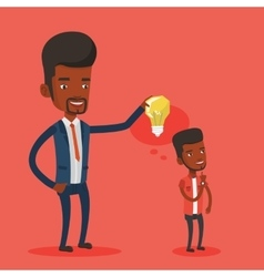 Businessman giving idea light bulb to his partner vector