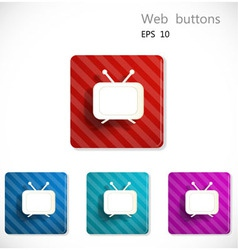 Buttons with icon of television vector image