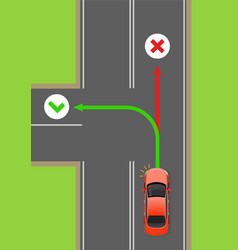 car left turn rule flat diagram vector image vector image
