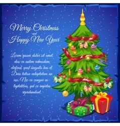 Christmas tree with gifts and sample text vector image vector image