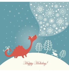 cute dragon christmas card vector image vector image