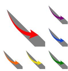 declining arrow sign set of red orange yellow vector image