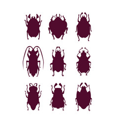 funny bugs silhouettes set vector image